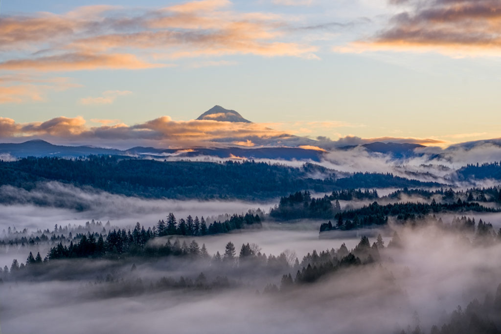 Mt Hood Oregon and clouds photograph.