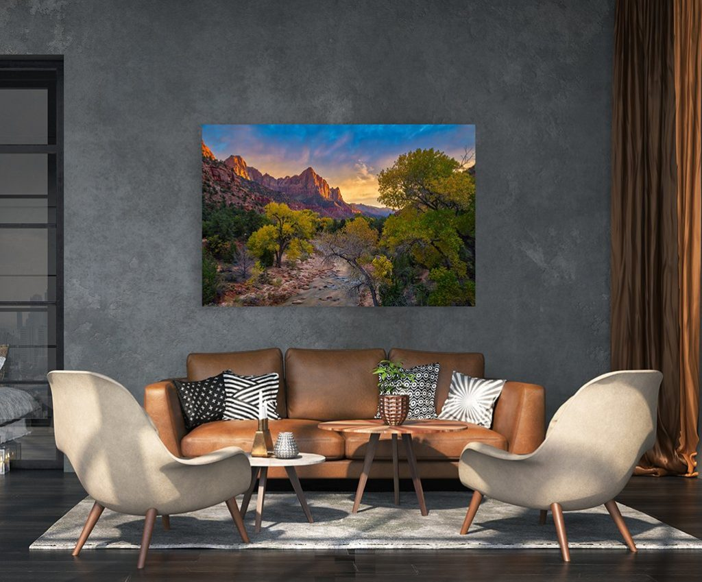 Zion National Park fine art landscape print pictured above couch in living room.